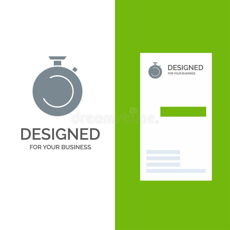 Compasso, pulso de disparo, cronômetro, temporizador, relógio Grey Logo Design e molde do cartão ilustração do vetor