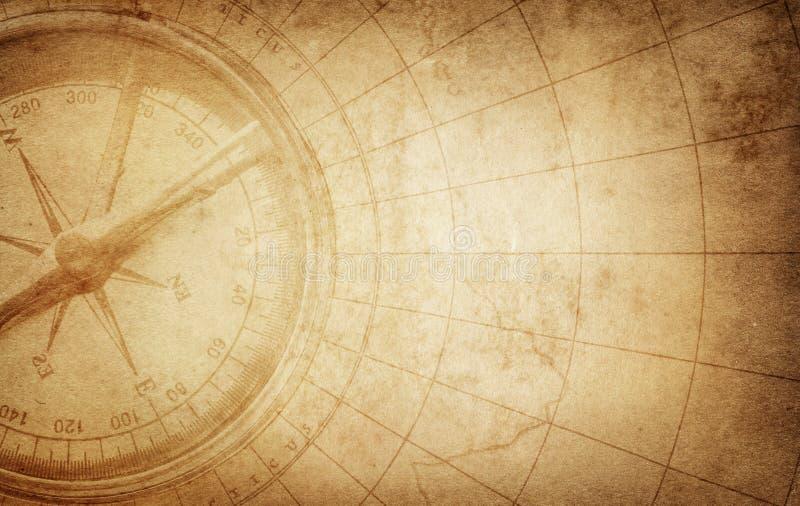Compasso retro do vintage velho no mapa antigo Sobrevivência, exploração ilustração stock