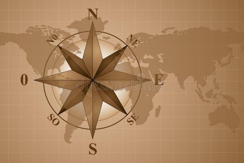 Compasso Rosa no mundo do mapa ilustração stock