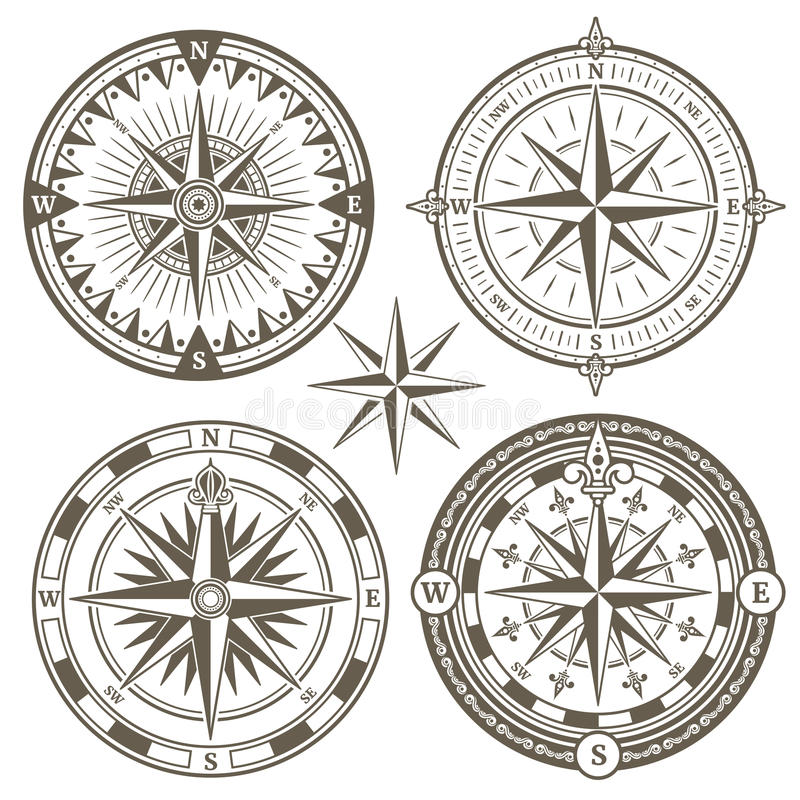 Compasso velho da navegação marinha da navigação, ícones cor-de-rosa do vetor do vento ilustração royalty free