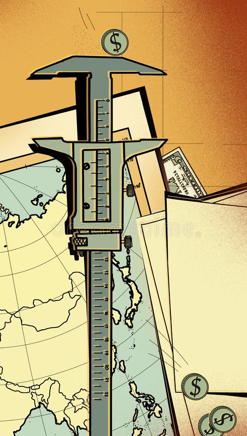 Compassos de calibre do dispositivo de medição como meio de avaliar investimentos e seus riscos Na perspectiva do mapa de Ásia, M ilustração do vetor