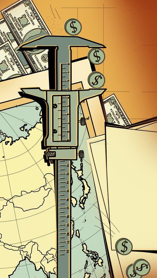 Compassos de calibre do dispositivo de medição como meio de avaliar investimentos e seus riscos Na perspectiva do mapa de Ásia, M ilustração stock
