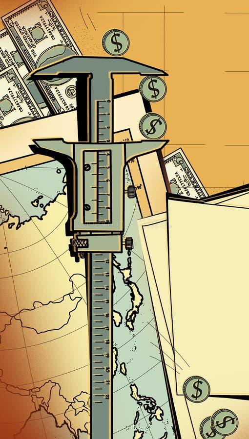 Compassos de calibre do dispositivo de medição como meio de avaliar investimentos e seus riscos Na perspectiva do mapa de Ásia, M ilustração royalty free