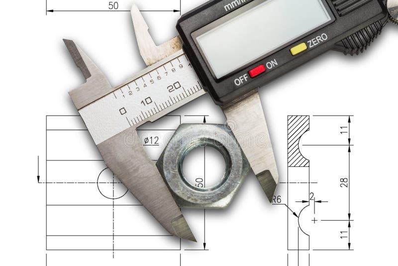 Compassos de calibre vernier de Digitas fotografia de stock