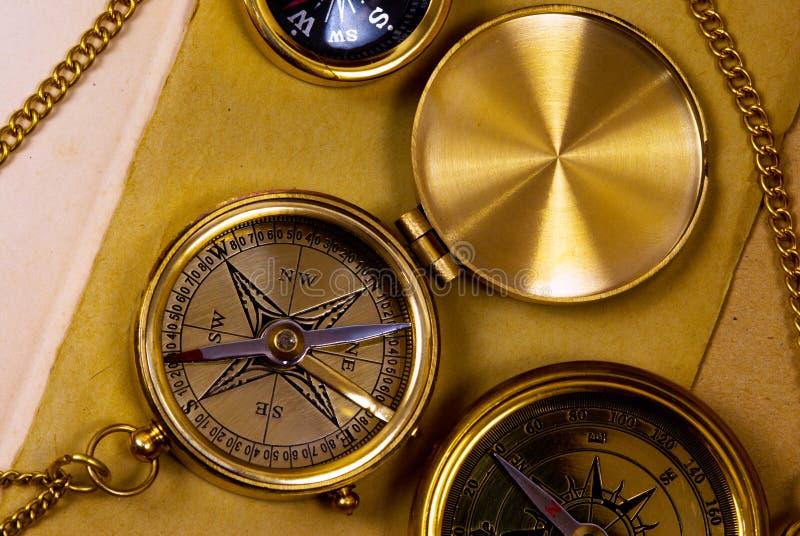 Compassos do bronze do estilo velho fotografia de stock