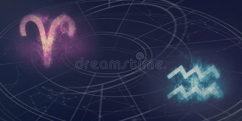 Compatibilidad de las muestras del horóscopo del aries y del acuario Cielo nocturno Abst fotografía de archivo