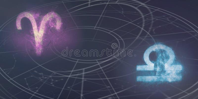 Compatibilidad de las muestras del horóscopo del aries y del libra Cielo nocturno Abstrac fotografía de archivo