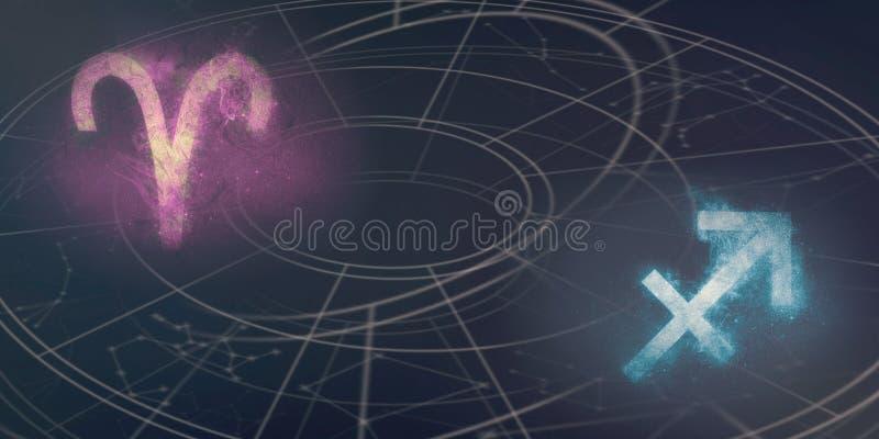 Compatibilidad de las muestras del horóscopo del aries y del sagitario Cielo nocturno A fotos de archivo