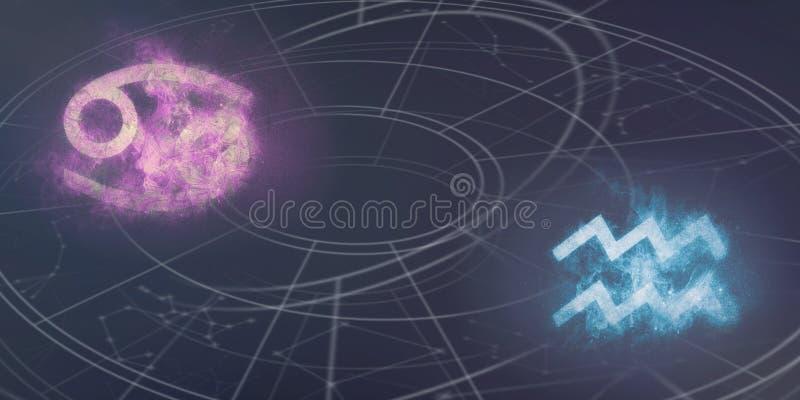 Compatibilidad de las muestras del horóscopo del cáncer y del acuario ABS del cielo nocturno fotografía de archivo libre de regalías