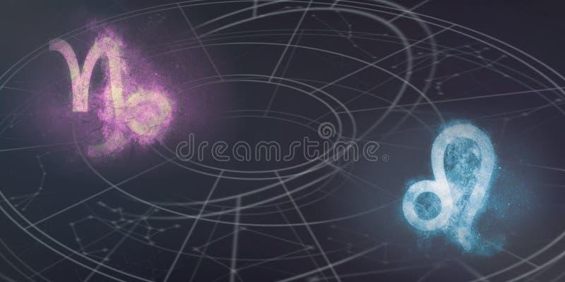 Compatibilidad de las muestras del horóscopo del Capricornio y de Leo Resumen del cielo nocturno imagen de archivo