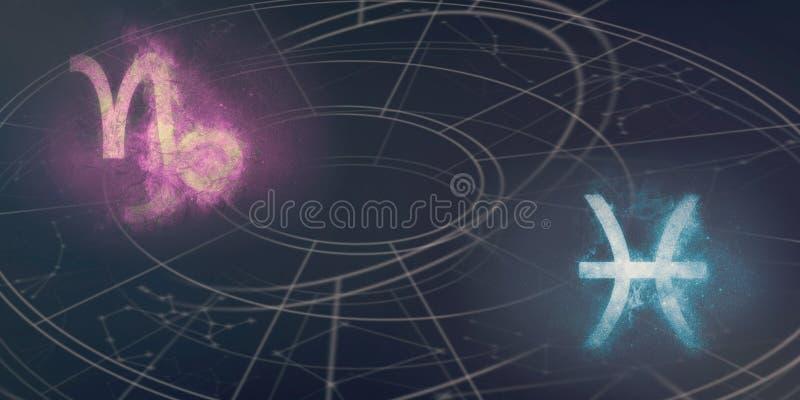 Compatibilidad de las muestras del horóscopo del Capricornio y de Piscis Cielo nocturno Ab imágenes de archivo libres de regalías