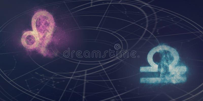 Compatibilidad de las muestras del horóscopo de Leo y del libra Extracto del cielo nocturno foto de archivo