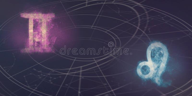 Compatibilidad de las muestras del horóscopo de los géminis y de Leo Extracto del cielo nocturno fotos de archivo libres de regalías