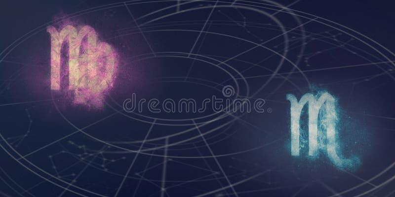 Compatibilidad de las muestras del horóscopo del virgo y del escorpión Resumen del cielo nocturno fotos de archivo libres de regalías