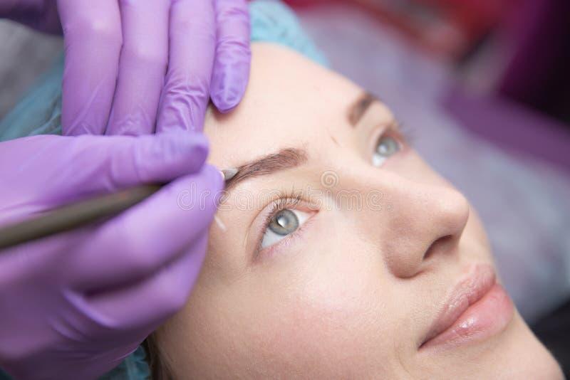 Compense las cejas de la mujer hermosa con las frentes gruesas en salón de belleza Cosmetólogo del primer que hace la ceja de tat fotos de archivo