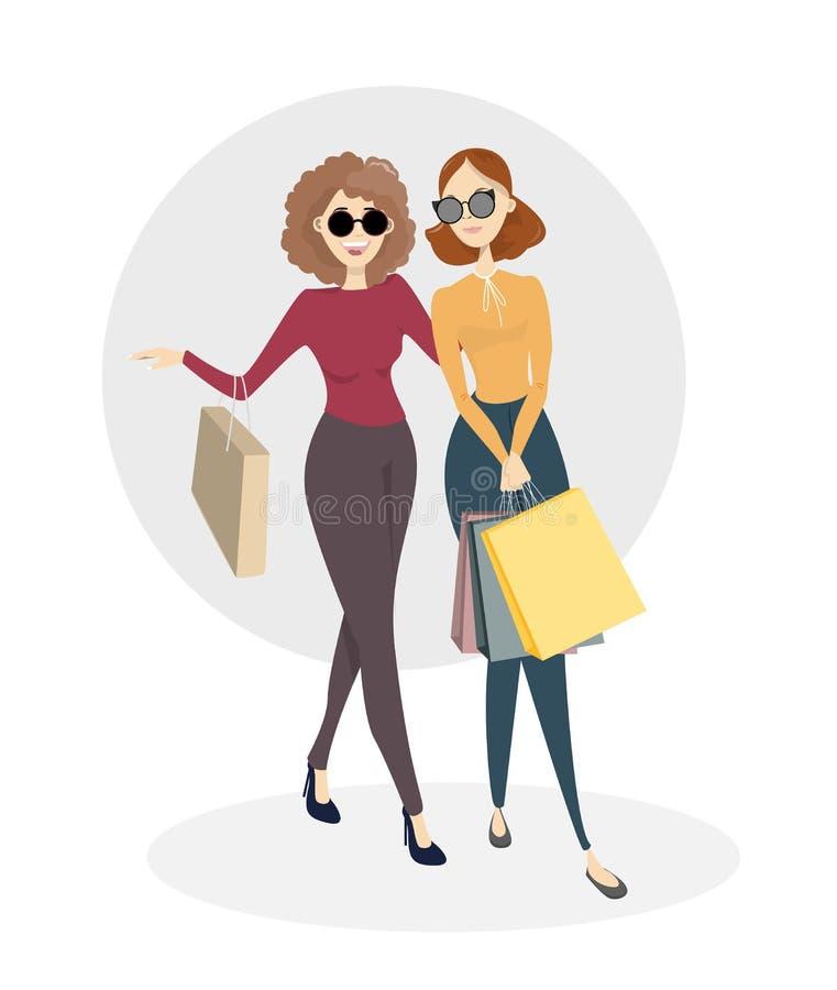 Compera degli amici delle donne illustrazione di stock