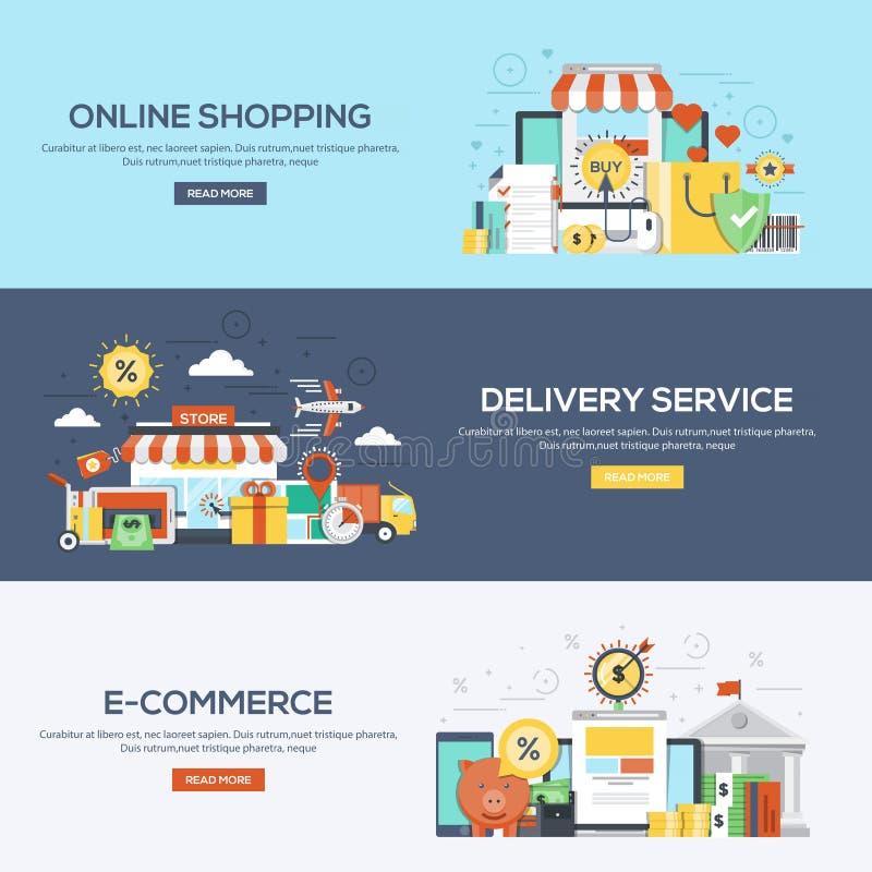 Compera e commercio progettati piani delle insegne illustrazione di stock