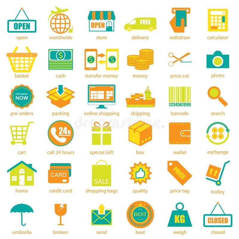 Compera ed icone logistiche messe, vettore illustrazione di stock