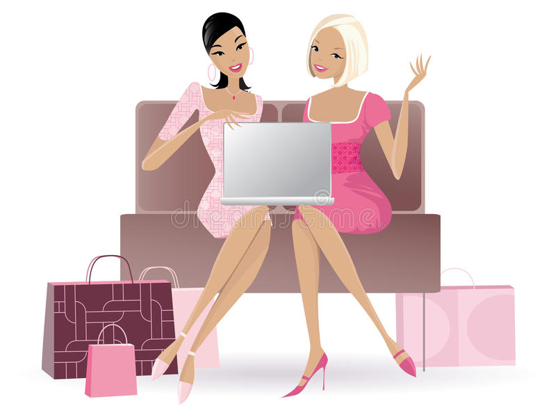 Compera online royalty illustrazione gratis