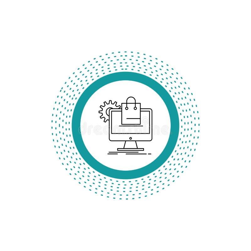 compera, online, commercio elettronico, servizi, linea icona del carretto Illustrazione isolata vettore illustrazione di stock