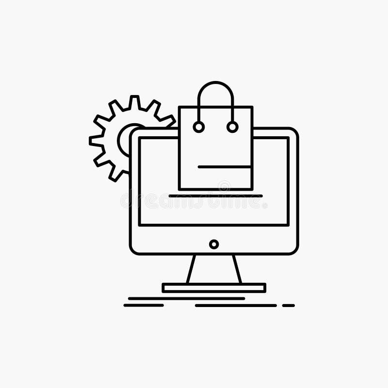 compera, online, commercio elettronico, servizi, linea icona del carretto Illustrazione isolata vettore illustrazione vettoriale