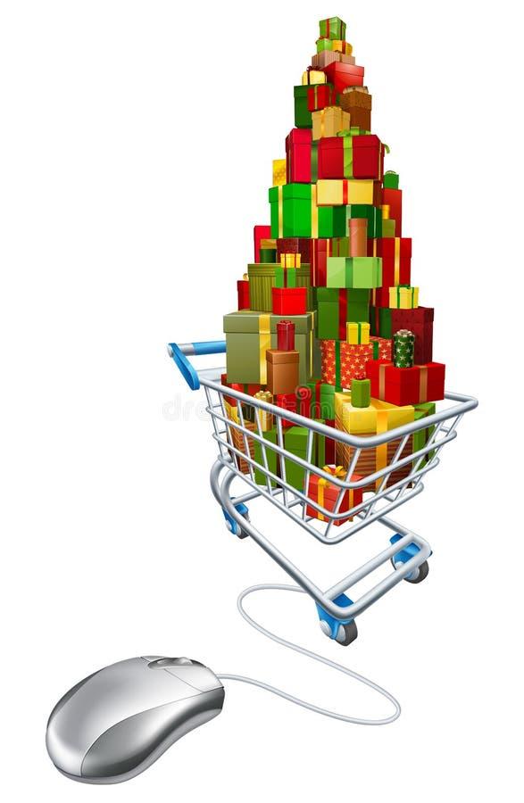 Compera online di Natale di web illustrazione vettoriale