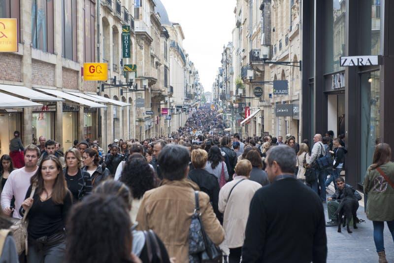 Comperando in Bordeaux, la Francia fotografia stock