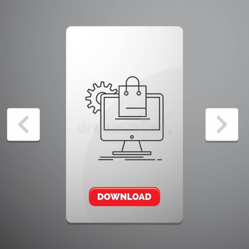 comperando, online, commercio elettronico, servizi, linea icona del carretto nella progettazione del cursore di impaginazioni di  illustrazione di stock