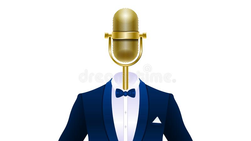 Realistic gold microphone in tuxedo with bowtie. Compere, master of ceremonies, emcee. Realistic gold microphone in tuxedo, suit with bowtie isolated on white royalty free illustration