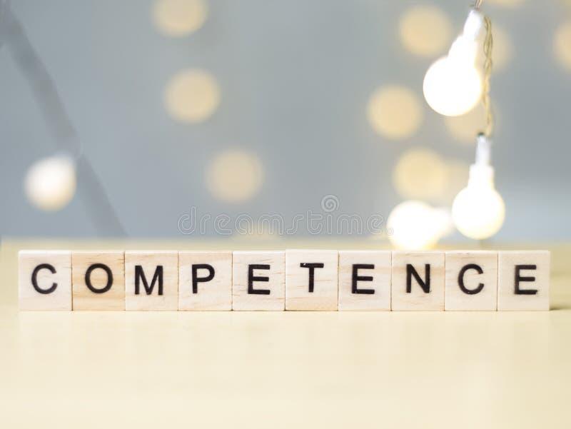 Competência, conceito das citações das palavras do negócio fotos de stock royalty free