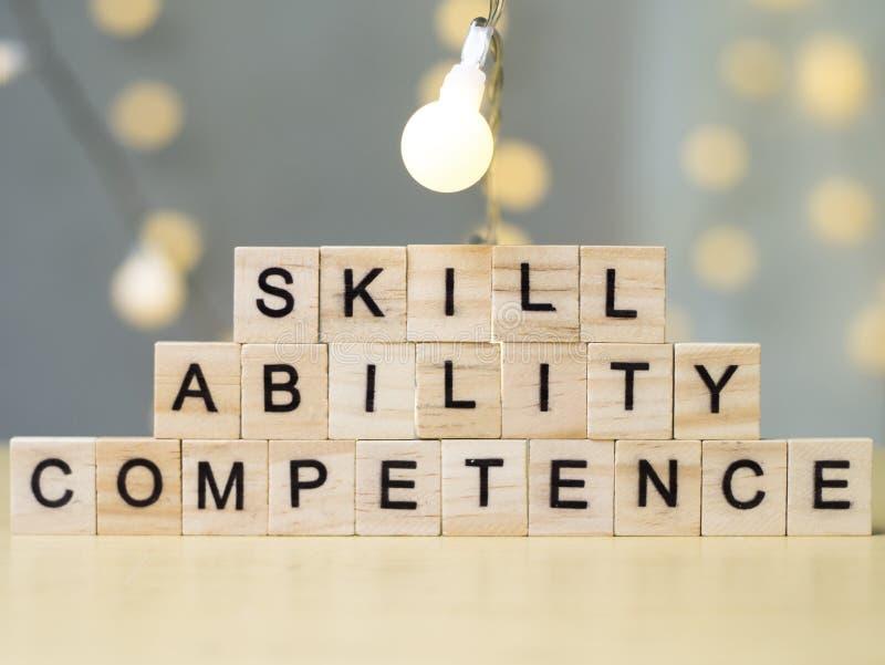 Competência da capacidade da habilidade, conceito das citações das palavras do negócio foto de stock royalty free