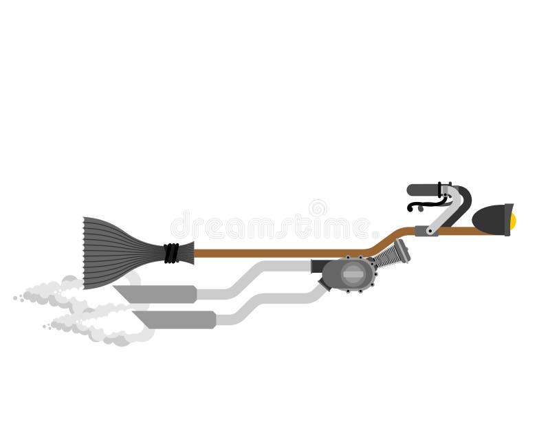 Competência da vassoura de bruxa isolada Turbocompressor de pressa do cabo de vassoura Hallowee ilustração stock