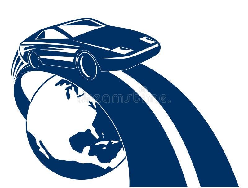 Competência de carro dos esportes fora do glob ilustração royalty free