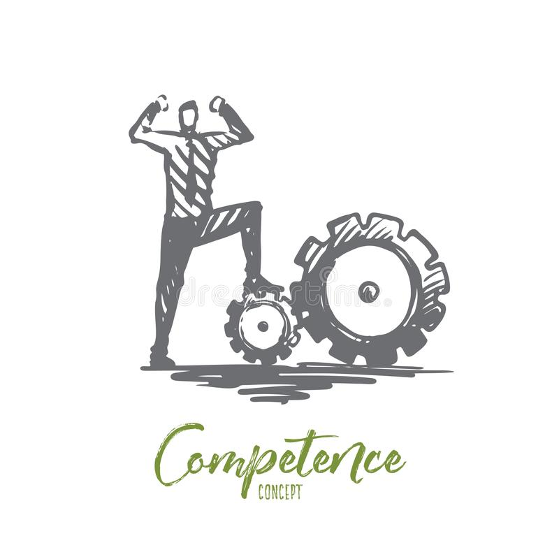 Competence, businessman, work, successful concept. Hand drawn isolated vector. royalty free illustration