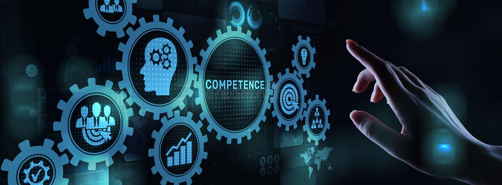 Competence Skill Personal development Business concept on virtual screen. stock images