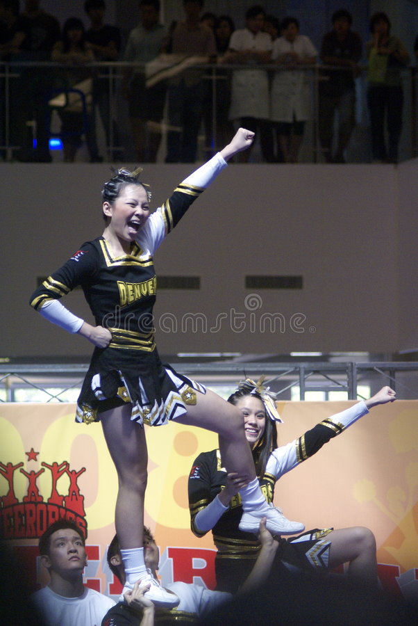 Competencia cheerleading de Singapur imagen de archivo