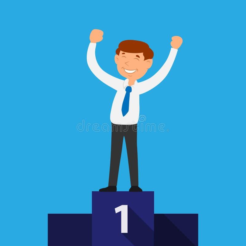Competencia comercial acertada del concepto del ganador del negocio stock de ilustración