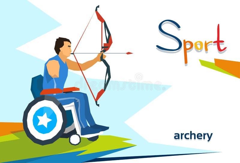 Competencia de deporte discapacitada de On Wheelchair Archery del atleta stock de ilustración
