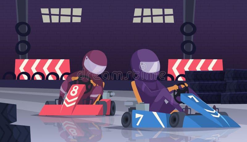 Competencia de deporte de Karting Corredores en casco en coches rápidos en fondo de la historieta del vector de la pista de la ve libre illustration