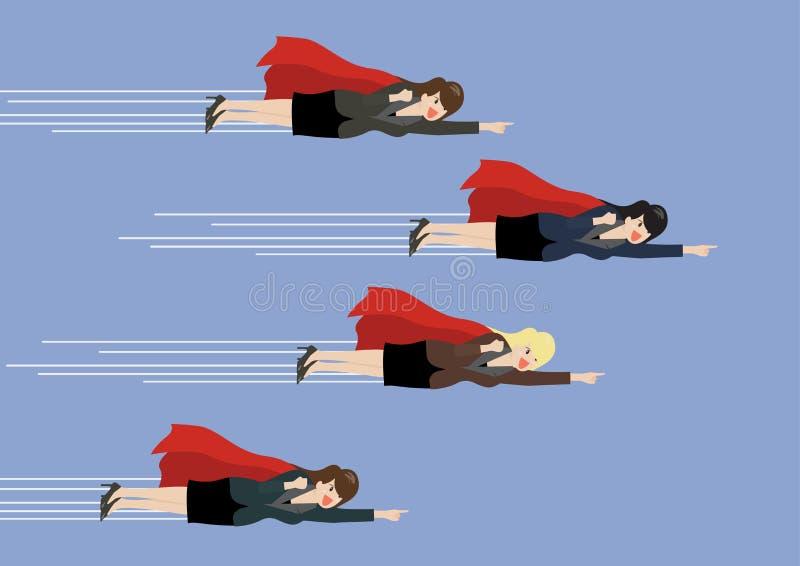 Competencia de la mosca del super héroe de las mujeres de negocios stock de ilustración