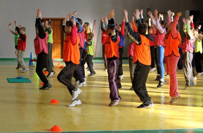 Competencia del atletismo de los niños imágenes de archivo libres de regalías
