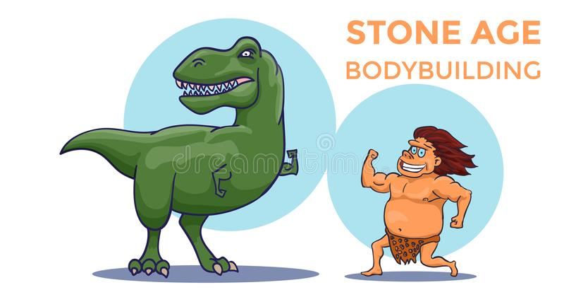 Competencia del levantamiento de pesas de la Edad de Piedra de la historieta Hombre de cueva contra tiranosaurio Vector ilustración del vector