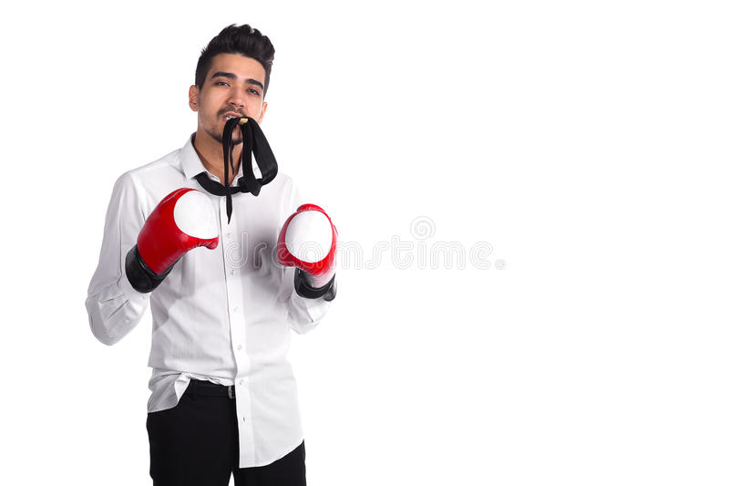 Competencia del negocio, boxeador joven del hombre de negocios fotografía de archivo