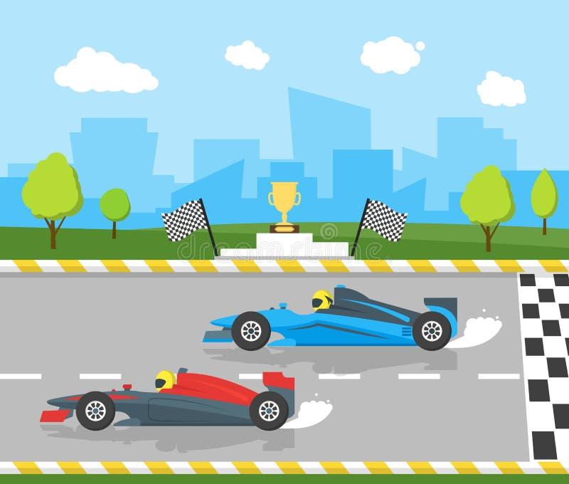 Competencia del profesional del deporte de las carreras de coches de la historieta Vector libre illustration