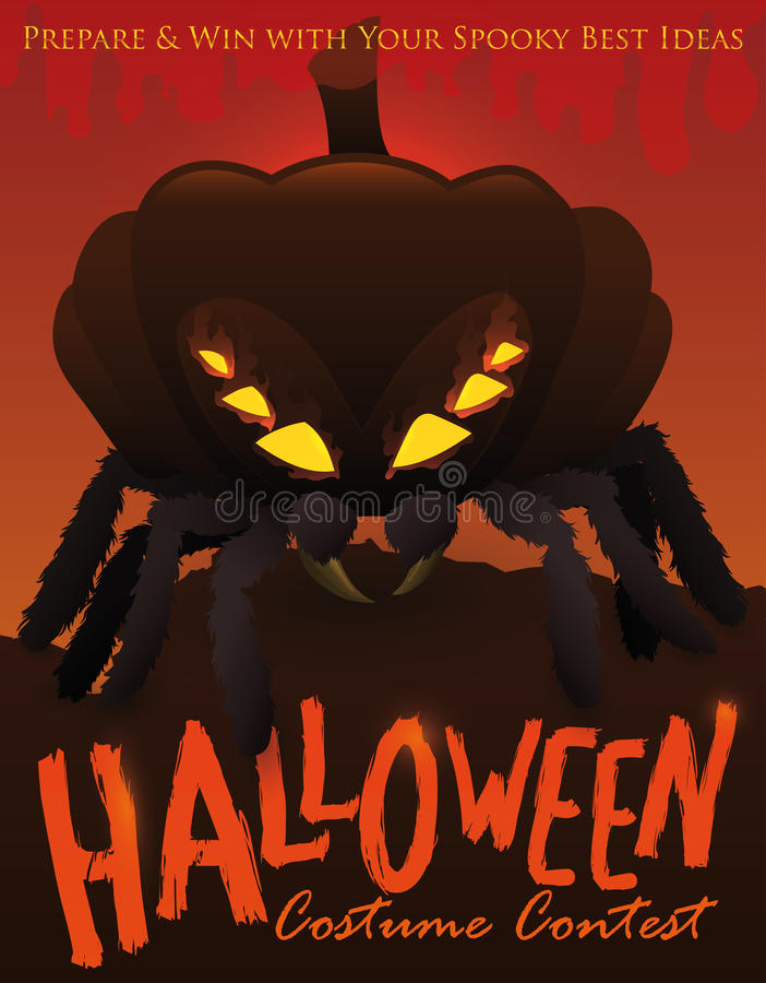 Competencia del traje de Halloween con la araña disfrazada con una calabaza, ejemplo del vector ilustración del vector
