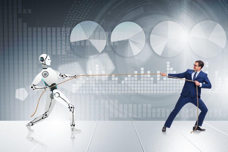 Competencia entre los seres humanos y los robots en concepto del esfuerzo supremo fotografía de archivo