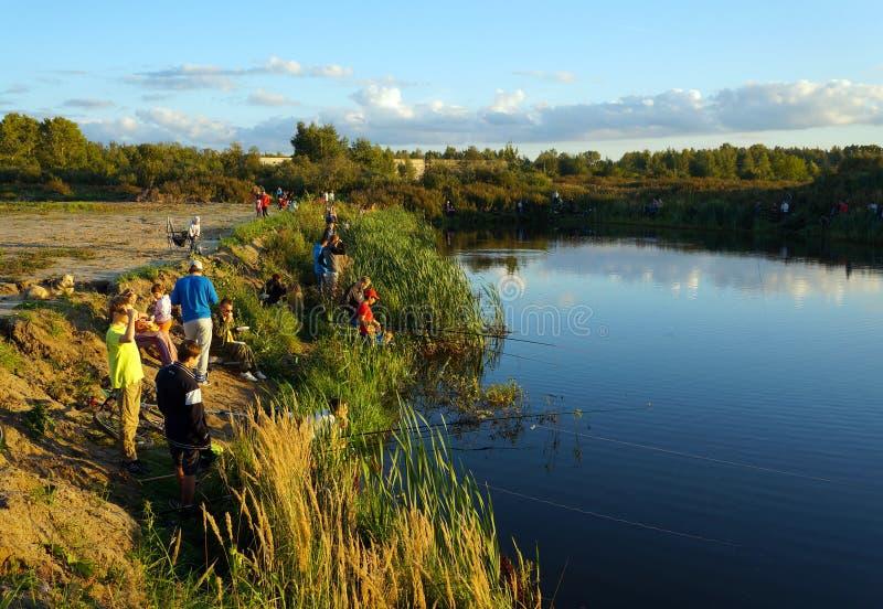Competencias de deportes en la pesca en la cogida de una carpa y de un esturión, pescadores en el lago fotografía de archivo