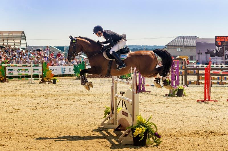Competencias de salto del caballo internacional, Rusia, Ekaterinburg, 28 07 2018 fotos de archivo