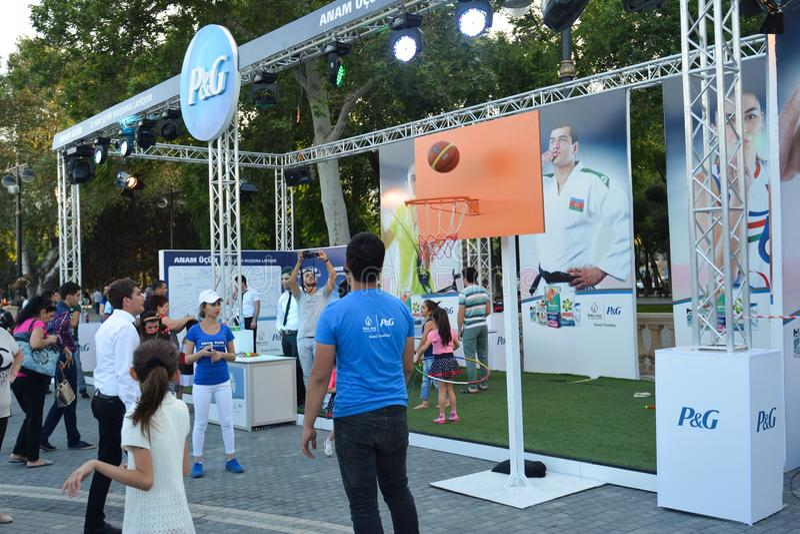 Competencias nacionales en parque de playa en Baku foto de archivo