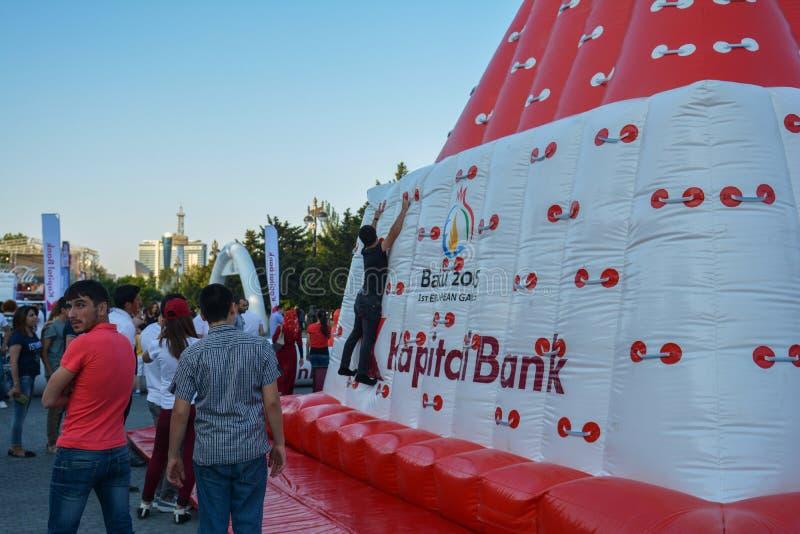 Competencias nacionales en parque de playa en Baku fotos de archivo libres de regalías